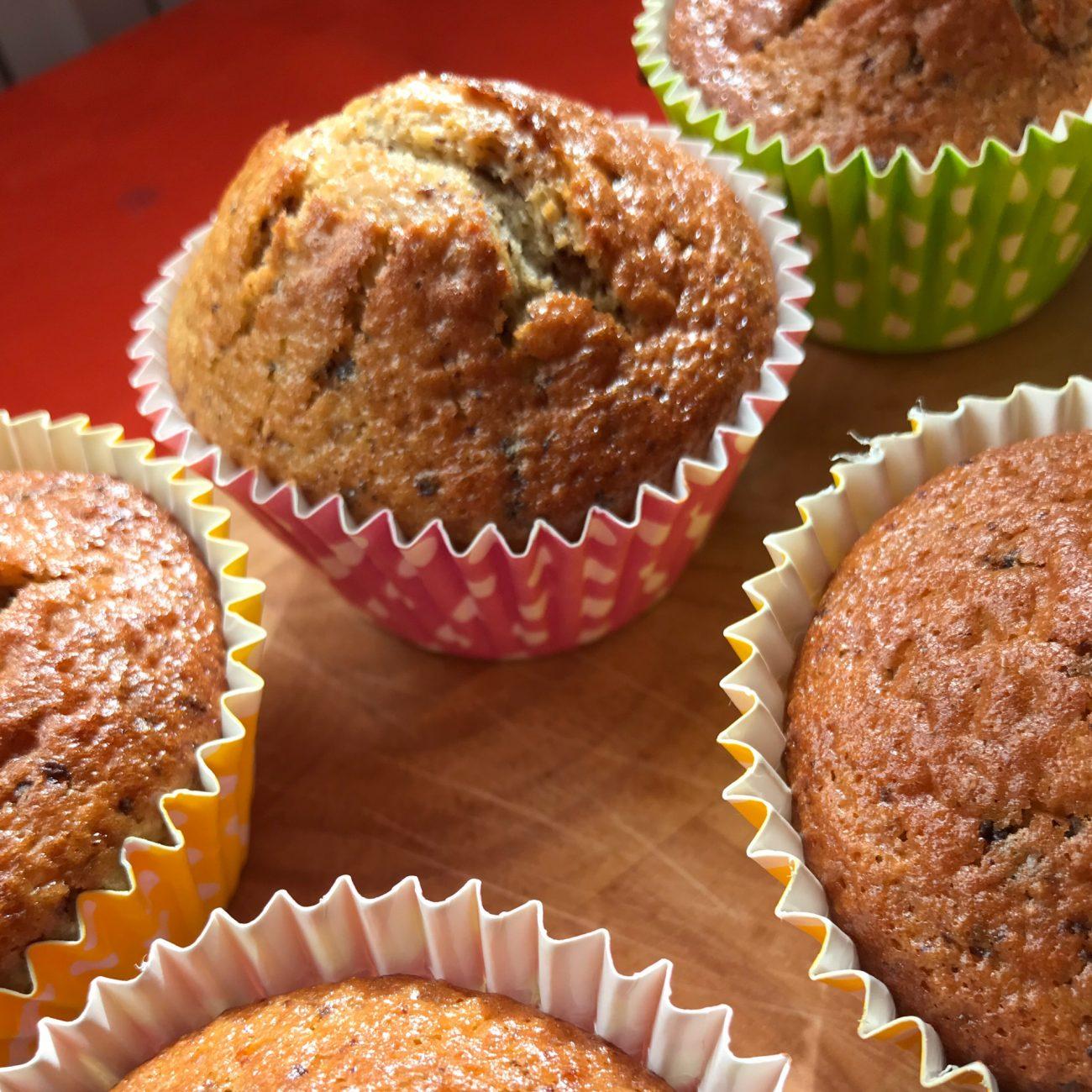 Muffins integrali allo yogurt con scaglie di cioccolato