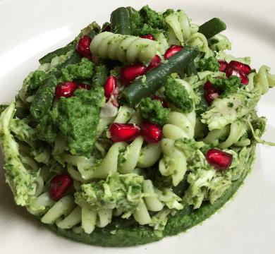Pasta con lesso di recupero fagiolini e salsa verde